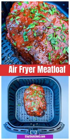 Easy Air Fryer Meatloaf Recipe is a quick dish using 2 pounds of ground beef or turkey. The meatloaf is topped with a sweet and savory glaze. Drizzle with gravy if you wish! recipe with gravy Easy Air Fryer Meatloaf Recipe + {VIDEO} Air Fryer Recipes Snacks, Air Fryer Recipes Low Carb, Air Fryer Recipes Breakfast, Air Frier Recipes, Air Fryer Dinner Recipes, Meatloaf Recipe Video, Meat Loaf Recipe Easy, Meatloaf Recipes, How To Cook Meatloaf