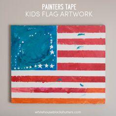 Painters Tape Kids Flag Art - white house black shutters