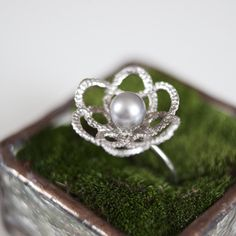 sterling tatted flower pearl ring from http://kajsjewelry.com $195