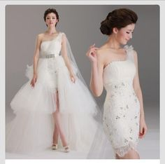 One shoulder wedding dress that can be worn in 2 ways.