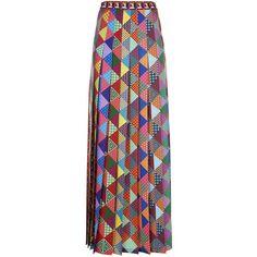 Mary Katrantzou Nyx Pleated Maxi Skirt (£850) ❤ liked on Polyvore featuring skirts, patchwork skirts, long skirts, long pleated skirt, maxi skirts and geometric maxi skirt
