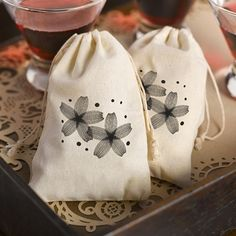 Stylized Modern Flowers Design Cotton Favor Bags (Package of 25)