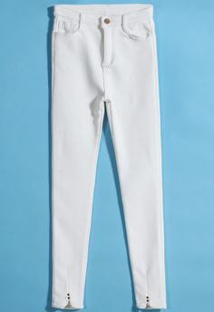 Pantalones denim cintura alta tachuela-blanco 16.35