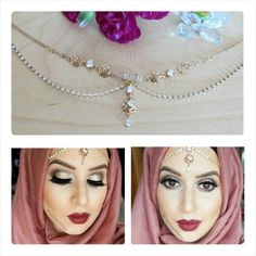 ✨ Love love this look by @shaziahaquemakeup , soft yet so elegant, makeup is flawless , wearing 2015 New Collection headchain called Golden Rose !!! #sofiascollection #hijabheadchain #hijabheadpiece #myhijab #hijabpin #hijabpins #hijaboutfit #hijabtrend #hijabiqueen #hijablook #hijabinspired #hijabstyle #hijabchains #hijabmuslim #hijabicon #hijabi #hijabmuslim #hijablovee #hijabootdindo #hijabtutorials #hijabtaste #handchain #handharness #handcrafted #handchains #slavechain #bespoke #zukreat… Dina Tokio, Hijab Look, Elegant Makeup, Hijab Trends, Hijab Pins, Hand Chain, Hijab Outfit, Hijab Fashion, Headpiece