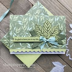 Gather Together Bundle & Garden Lane Designer Series Paper from Stampin\' Up! Card by Mary Fish, Stampin\' Pretty Mary Fish, Stampin Pretty, Leaf Cards, Friendship Cards, Thanksgiving Cards, Fall Cards, Card Envelopes, Pretty Cards, Paper Pumpkin