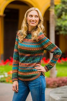 100% alpaca sweater, 'Andean Meadow'. Shop from #UNICEFMarket and help save the lives of children around the world.