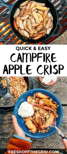 A quick and easy fall-inspired camping dessert, this vegan campfire apple crisp is guaranteed to leave you feeling warm and cozy at the end of the night.  Camping food | Campfire cooking #ad @sodeliciousdairyfree