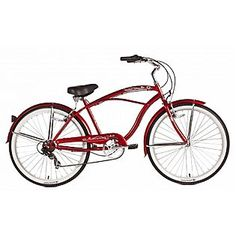 Micargi  Red Pantera 7 Speed Beach Cruiser Male  Sears  Item#  00641279000 | Model#  Red Pantera 7 Speed Beach Cruiser Male Beach Cruiser Bikes, Cool Bicycles, Chain Rings, Retro, Color Red, Fork, Stainless Steel, Model, Products