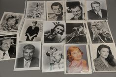 Group of 24 photographs, 16 are autograph photographs including 7 Cyd Charisse, 1 James Caan, 1 Bill Cosby, 2 Marguerite Chapman, 1 Joseph Cotton , 1 Corinne Calvet, 1 Gary Cooper, 1 Lynda Carter, and 1 James Coburn, and 8 unsigned photographs including 1 Jeff Chandler, 2 Joseph Cotton, 3 Gary Cooper, 2 Jeanne Crain.