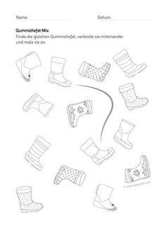 DE-KiGaPortal Kindergarten Weather Worksheet rubber boots perception - My CMS Weather Worksheets, Kindergarten Worksheets, Preschool Activities, Kindergarten Portfolio, Home Schooling, Montessori, Pre School, School Lunch, Perception
