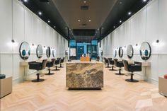 Herringbone Oak timber flooring, natural colour wood flooring, parquet flooring, interior design ideas, retail design, hairdresser, hair salon, contemporary interiors, Scandinavian