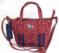 NWT AUTHENTIC TOMMY HILFIGER RED MULTI LOGO TH Crossbody Bag Purse RP:$69 /#JL64 #TommyHilfiger #MessengerCrossBody