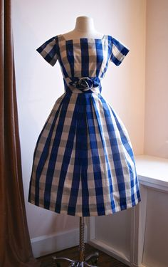 Vintage 1950s Gingham Print Party Dress With by xtabayvintage, $198.00