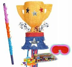 "Trophy Pull String Pinata Party Pack Including Pinata, Pinata Candy and Toy Filler, Buster and Blindfold by Pinata. $45.00. Includes (1) Trophy Pull String Pinata. Includes approximately 2 pounds of Candy and Toys. Caution: not recommended for children under 3 years of age. Includes one hard Plastic Pinata Buster that measures approximately 30"". Caution: use only under adult supervision. Includes one Blindfold with Elastic String. Measures 7"" long x 5.5"" high."