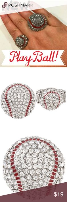 Large Baseball Bling Ring Whether you're a stat-obsessed baseball fan, a supportive Baseball Mom, or just enjoy time with friends at the occasional game; you'll love this fun blingy baseball ring! A mound of rhinestone pave is the finishing touch for a day at the ballpark.   The perfect accessory for any woman or girl who loves baseball - and the stretchable band ensures that one size fits all. Available in small and large - see photo for size comparison. This listing is for the large ring…