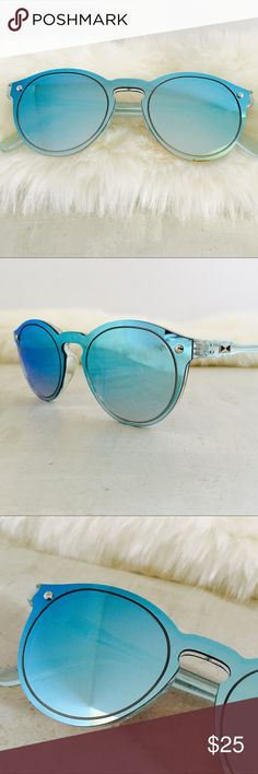 Blue Mirrored Frame/Lenses Sunnies Highly Rated!!! Super rad mirrored sunnies. Mirrored lenses and frames. Pink, blue, red.  Lens Height	5.9cm Lens Width	6.0cm  UV400 Protection Against UVA/UVB RAYS Accessories Sunglasses