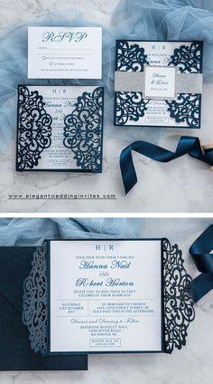 classic blue and silver wedding invitations #blue #weddinginvitations