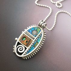 Silver Pendant with Iridescent Mosaic Polymer and Faux wood