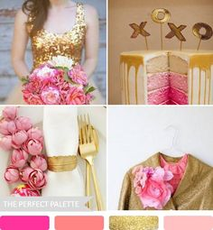 party palette: shades of pink + glittery gold http://www.theperfectpalette.com/2013/01/party-palette-shades-of-pink-glittery.html