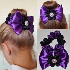 Handmade Girl's Flower Bun Wrap/Top Knot, Kanzashi, Black/Purple, School/Party | eBay