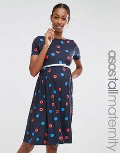 ASOS Maternity TALL Blurred Spot Skater Dress with Belt – Lilac with blue spot. Tall Maternity Clothing for Tall Women at PrettyLong.com