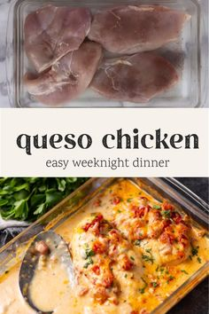 Baked Queso Chicken will be your new favorite weeknight meal! It's not only QUICK and EASY, but delicious.  With just a few ingredients and a special tip, you'll have moist and tender chicken on the table with almost no effort. #chicken #lowcarb #easydinner #weeknightdinner #queso #texmex Crockpot Recipes, Chicken Recipes, Cooking Recipes, Weeknight Meals, Easy Meals, Low Carb Recipes, Healthy Recipes, So Little Time, Mexican Food Recipes