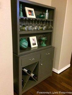 Wine Glass Shelf, Wine Shelves, Wine Glass Holder, Glass Shelves, Brown Furniture, Bar Furniture, Furniture Makeover, Painted Furniture, Furniture Projects