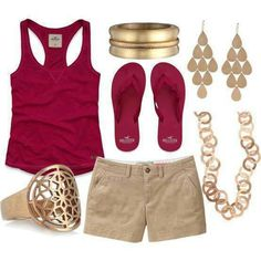 This would be cute with a hat, and sunglasses to fish by the river. Summer time