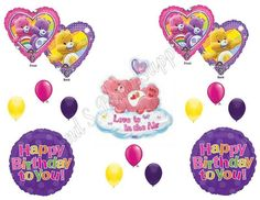 XL CARE BEARS Happy Birthday Party Balloons Decoration Supplies Love 14 pcs #Anagram #1STbIRTHDAY