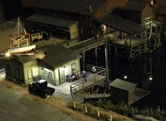 Night scene at Delwins Boat & Net Storage. Photo and modeling by Greg Shinnie