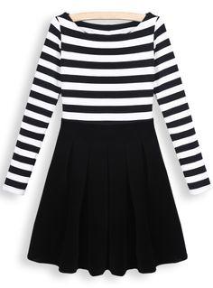 Black Round Neck Long Sleeve Striped Pleated Dress - Sheinside.com