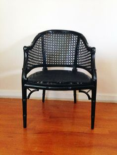 black lacquer faux bamboo chair