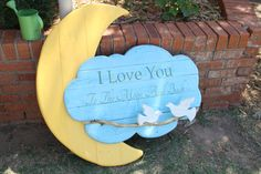 I Love You To The Moon and Back reclaimed wood sign perfect for a nursery or baby shower gift. on Etsy, $95.00