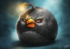Angry Birds Black Bomb Bird Illustration