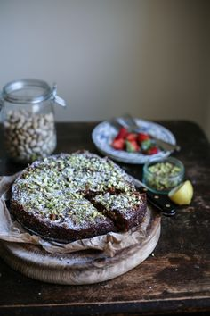 Strawberry and Pistachio Almond Meal Cake {Gluten Free} I Daisy and the Fox