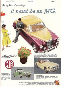 MG car advert, issued by BMC, in The Motor - 1956 by mikeyashworth, via Flickr J