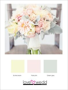 Obsessed with this color palette for the table centerpieces. pale yellow, pink and grey #color schemes #wedding
