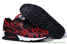 the latest 71a80 42729 meilleur chaussure running Hommes Nike Air Max 90 Tiger Stripes Rouge Light  Noir