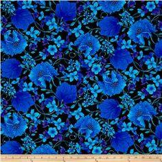 Timeless Treasures Mosaic Plume Mosaic Floral Black