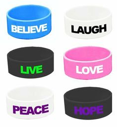 Wide Silicone Wristband - Love Bracelets - 6 Pack by Wide Silicone Wristbands. $3.78. This collection of extra-wide silicone bracelets features a variety of Peace and Love slogans. Excellent for teen birthday party, Giveaways, party favor,and a whole lot more. Purchase today!