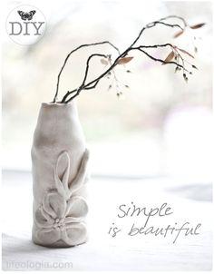 DIY Vase Tutorial : Saltdough covered recycled bottle. | Lifeologia
