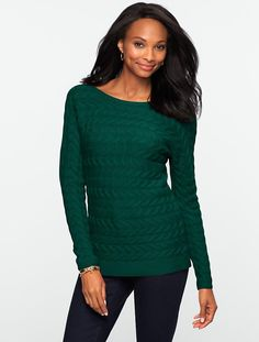 Avoid - the horizontal pattern was NOT flattering. Talbots - Horizontal Cable Sweater | Petites | Petites