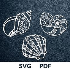 SEA SHELLS *>> *This download includes three designs as pictured above. You are buying the digital template of this cut only, not a finished cut. This file is ready to be used with your Cricut, Silhouette Cameo, Brother, or similar cutting machines. The template can be scaled to any