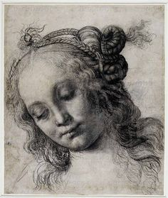 Renaissance. 15th century. Verrocchio,Andrea del.'Head of a Woman', c1475. This is one of several drawings, including one on the reverse of this sheet, for the head of a nymph or Venus. Black chalk has been used softly to suggest the gentle shadows on her cheeks, while white chalk heightens the fall of light. Verrocchio was a sculptor as well as a painter, and his feeling for three-dimensional form is apparent here in the careful shading that creates a sense of volume.