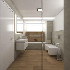 Moderní koupelna STANTON - Přímý pohled ze sprchového koutu Bathroom Inspiration, Alcove, Teak, Shelter, Bathtub, Studios, Bathrooms, Home Design, Houses