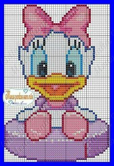 Disney baby Daisy Duck cross stitch.