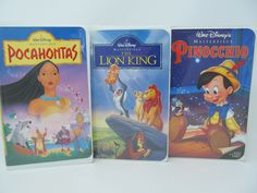 Disney VHS - 3 movies are included for this price - Pocahontas, Lion King, Pinocchio by CellarDeals on Etsy