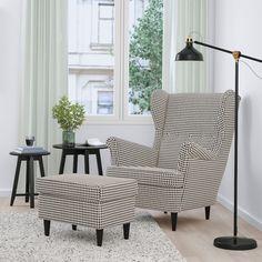 STRANDMON ストランドモン ウイングチェア, ヴィッベルボー ブラック/ベージュ - IKEA