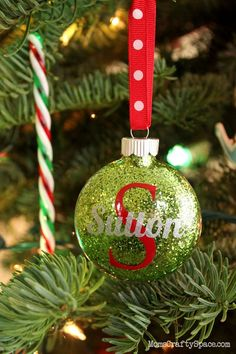 25 Handmade Christmas Ornaments 12 - Happiness is Homemade - Personalized Glitter Ornaments