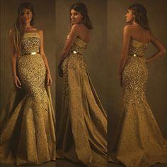Carlos Bacchi vestido dourado